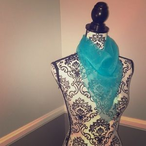 Square Turquoise SheerChiffon Head/Neck/Bag Scarf